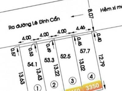Bán gấp có 4 lô đất hẻm 8m giá chốt theo sơ đồ 257/5/18 Lê Đình Cẩn, P. Tân Tạo, Q. Bình Tân.