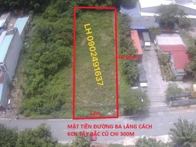 Đất vuông vắn 2 mặt tiền Đường Ba Lăng không cấn ranh đất nằm trong lòng cụm KCN Tây Bắc TPHCM. Giá bán nhanh 5 tỷ.